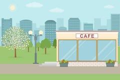 Edificio del café en fondo de la ciudad Imagen de archivo libre de regalías
