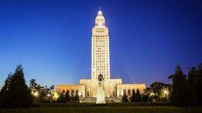 Edificio del capitolio del estado de Luisiana en Baton Rouge en la noche Fotografía de archivo libre de regalías