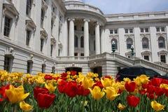 Edificio del capitolio del estado de Wisconsin, señal hystorical imágenes de archivo libres de regalías