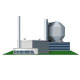 Edificio del fábrica del icono y de oficinas ilustración del vector