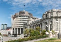 Edificio del gobierno del parlamento nacional y de la colmena en Wellingto imagen de archivo libre de regalías