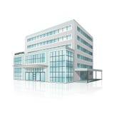 Edificio del hospital de la ciudad con la reflexión fotos de archivo