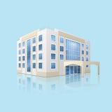 Edificio del hospital de la ciudad con la reflexión ilustración del vector
