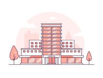 Edificio del hospital - línea fina moderna ejemplo del vector del estilo del diseño