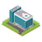 Edificio del hospital y de la ambulancia Foto de archivo libre de regalías