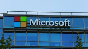 Edificio del logotipo de Microsoft almacen de video
