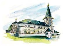 Edificio del monasterio Ejemplos dibujados mano de la acuarela ilustración del vector