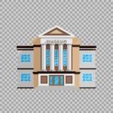 Edificio del museo en estilo plano en el ejemplo transparente del vector del fondo Arquitectura clásica, cultural ilustración del vector