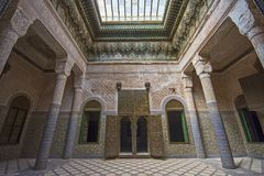 Edificio del palacio de Telouet Kasbah dentro Foto de archivo libre de regalías