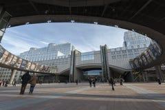Edificio del parlamento de la UE en Bruselas Fotos de archivo libres de regalías