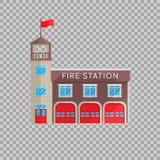 Edificio del parque de bomberos en estilo plano en un ejemplo transparente del vector del fondo Servicio para combatir las emerge Fotos de archivo libres de regalías