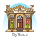 Edificio del teatro en línea fina con la máscara, ángeles ilustración del vector