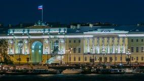 Edificio del timelapse ruso del Tribunal Constitucional, monumento a Peter I, edificio de la biblioteca de un nombre de Boris almacen de metraje de vídeo