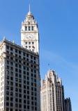 Edificio della torretta e del Wrigley del Chicago Tribune Immagine Stock