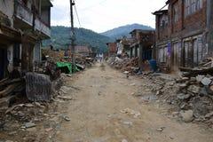 Edificio derrumbado después del desastre del terremoto Foto de archivo libre de regalías