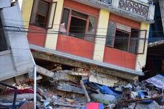 Edificio derrumbado después del desastre del terremoto Fotografía de archivo