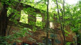 Edificio destruido en bosque con los arcos metrajes