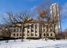 Edificio di Laflin nella neve Immagine Stock