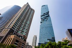 Edificio di MahaNakhon a Bangkok, Tailandia È la costruzione più alta in Tailandia 314 Mt Immagini Stock Libere da Diritti