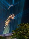 Edificio di Mahanakhon sotto il cielo di sera a Bangkok Immagine Stock Libera da Diritti