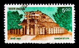 Edificio di Sanchi Stupa, Definitives - serie delle costruzioni, circa 1994 Fotografie Stock