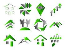 Edificio e iconos caseros de la insignia Imágenes de archivo libres de regalías