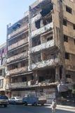 Edificio en el área de Haret Hreik destruido por el bombardeo israelí en la ciudad de Beirut en 2006 Imagenes de archivo