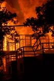 Edificio en el fuego Foto de archivo