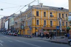 Edificio en la calle de Sagaydachnogo Foto de archivo