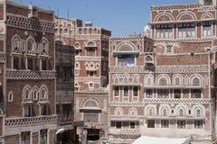 Edificio en Sanaa, Yemen foto de archivo libre de regalías