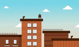 Edificio en vector plano del estilo de la historieta Foto de archivo libre de regalías