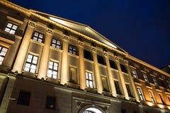 Edificio encendido noche hermosa Foto de archivo