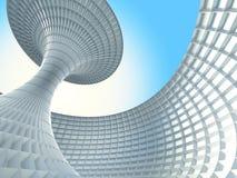 Edificio futurista abstracto de la arquitectura en fondo del cielo azul stock de ilustración