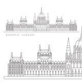 Edificio húngaro del parlamento El símbolo de Budapest, Hungría libre illustration