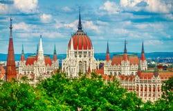 Edificio húngaro del parlamento en Budapest imagen de archivo libre de regalías
