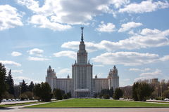 Edificio hermoso de la universidad de Moscú del estado Imagenes de archivo