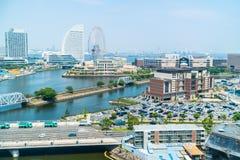 Edificio hermoso y arquitectura en horizonte de la ciudad de Yokohama fotografía de archivo libre de regalías