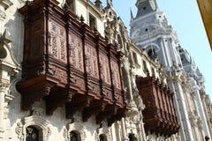 Edificio histórico, ciudad de Lima Fotografía de archivo libre de regalías