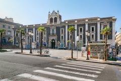 Edificio histórico en el Stesicoro cuadrado en Catania, Sicilia, Fotos de archivo libres de regalías