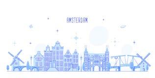 Edificio holandés de la ciudad del vector del horizonte de Amsterdam Foto de archivo libre de regalías