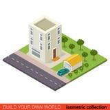 Edificio icometric del vector del garaje del parador del condominio de tres pisos libre illustration