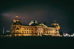 Edificio illuminato di Reichstag Fotografia Stock Libera da Diritti