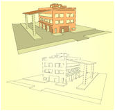 Edificio industrial en 3d stiile Imagen de archivo libre de regalías
