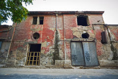Edificio industrial viejo espeluznante fotografía de archivo