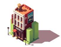 Edificio isométrico del hotel del vector stock de ilustración