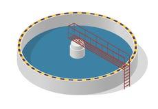 Edificio isométrico del tratamiento de aguas, purificador grande de la bacteria en blanco Imagen de archivo
