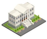 Edificio isométrico del tribunal Concepto de la ley y de la justicia Ilustración del vector stock de ilustración