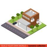 Edificio isométrico plano del estacionamiento del condominio de la oficina de negocios 3d ilustración del vector