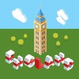 Edificio isometrico di Big Ben illustrazione di stock