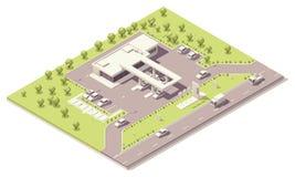 Edificio isométrico de la estación de servicio Fotografía de archivo libre de regalías
